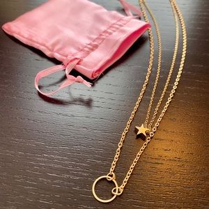 Jewelry - Two gold tone necklaces, circle, star, NWOT
